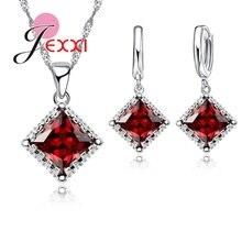 Jemmin Bridal Jewelry Sets 925 Sterling Silver Fine Jewelry Red Austrian Crystal Pendant Necklaces Earrings For Women Bijoux
