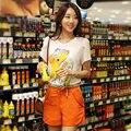 Coreano Plus Size Verão 2014 Novo Manga Sopro O-pescoço Camisa Chiffon Costura Magro Lantejoulas Mulheres Tops Imprimir Algodão Casual T-Shirts
