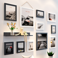 Simple wooden photo wall frame 11pcs Picture Frames+Shelf parlor background Decor picture frame set family hanging photo Album