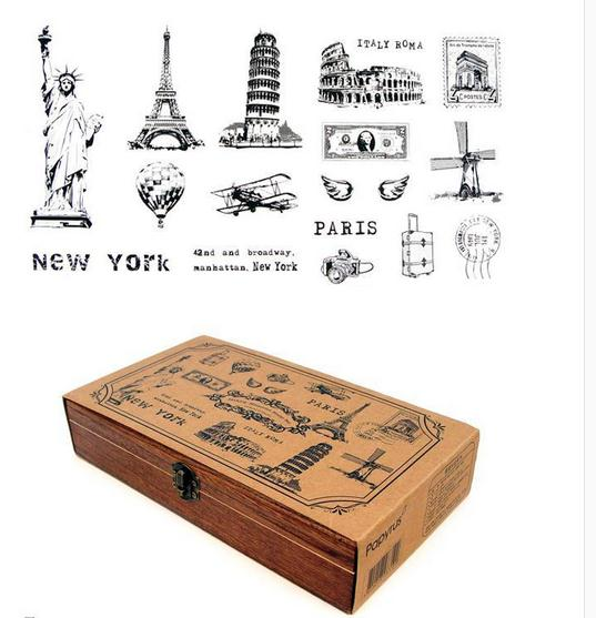 Wholesale stationery postage stamps, landscape memories wooden stamp set, A LIFE, wooden box packed ellos stamps, free shipping