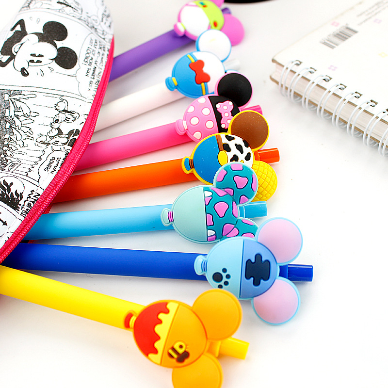10PCS Gel Pen Kawaii Mickey Minnie Gel Pen 0.5mm Black ink Candy color pens for Kid Gift School Supplies material escolar 5pcs 10pcs gel pen colorful gel ink pens kawaii school supplies gel pens school stationery office suppliers pen kids gift tools