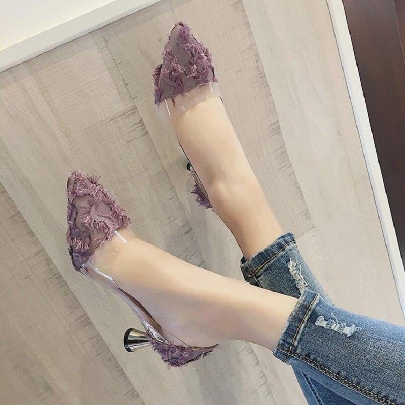 A3060 Otoño Cresfimix Del Mujeres Mujer Y Señora Transparente De Primavera Casual A Partido b Zapatos Tacones Alto Negro Altos Tacón Púrpuras Lindo 48Hqtg4w