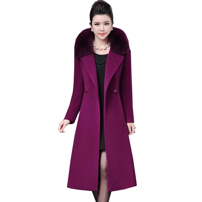 Double Sided Cashmere Fox Fur Collar Women Parka Winter New Long Purple Wool Coat Plus Size Thick Tops Woolen Jacket Female Z567