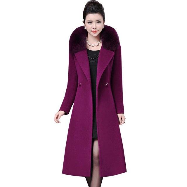 637e6578354 US $57.18 57% OFF|Double sided cashmere Fox fur collar Women Parka Winter  New Long Purple Wool Coat Plus size Thick Tops Woolen Jacket Female Z567-in  ...