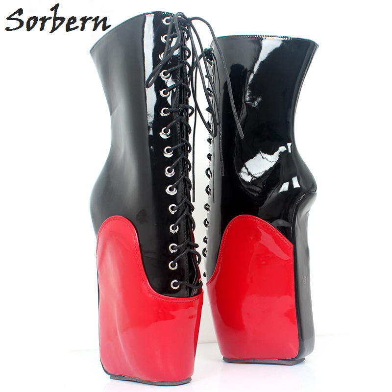 Sorbern Black And Red Mid Calf Women Boots Heelless Ballet Wedge Boot Hoof Heelless Lace Up Fetish High Heel Boots Ladies Diy stylish women s mid calf boots with solid color and fringe design