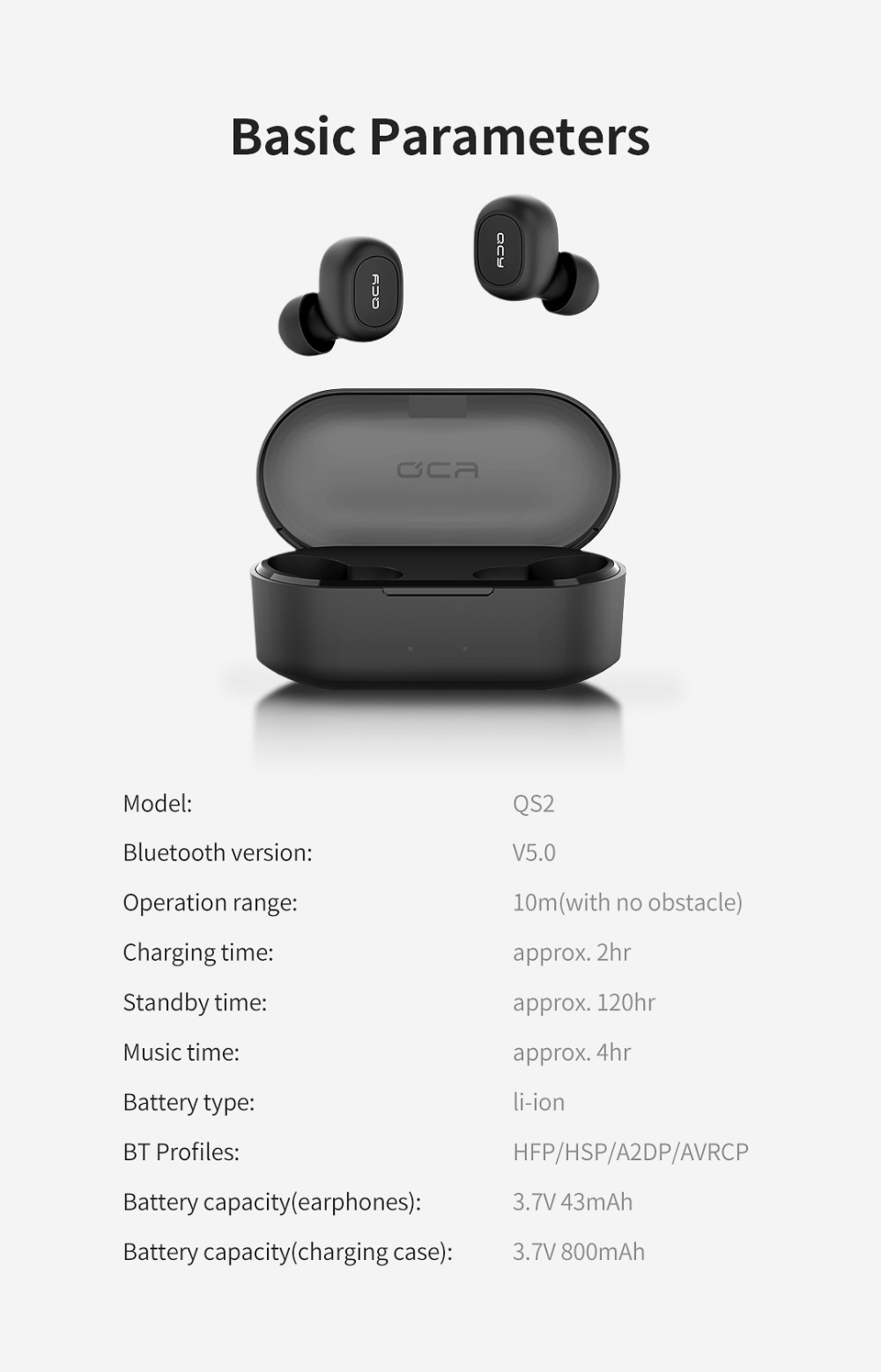 QCY QS2 TWS Bluetooth Earphones Or Earbuds Mini With Dual Microphone And Charging Box 7
