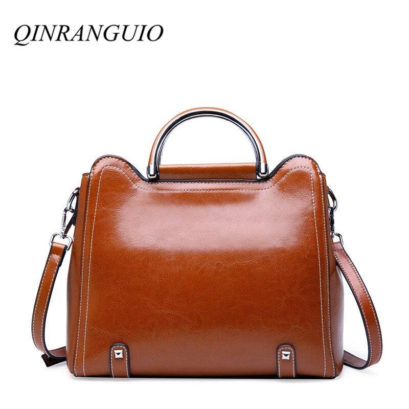 QINRANGUIO Genuine Leather Women Bag 100% Cow Leather Crossbody Bags for Women 2019 Vintage Solid Shoulder Bag Women Handbags