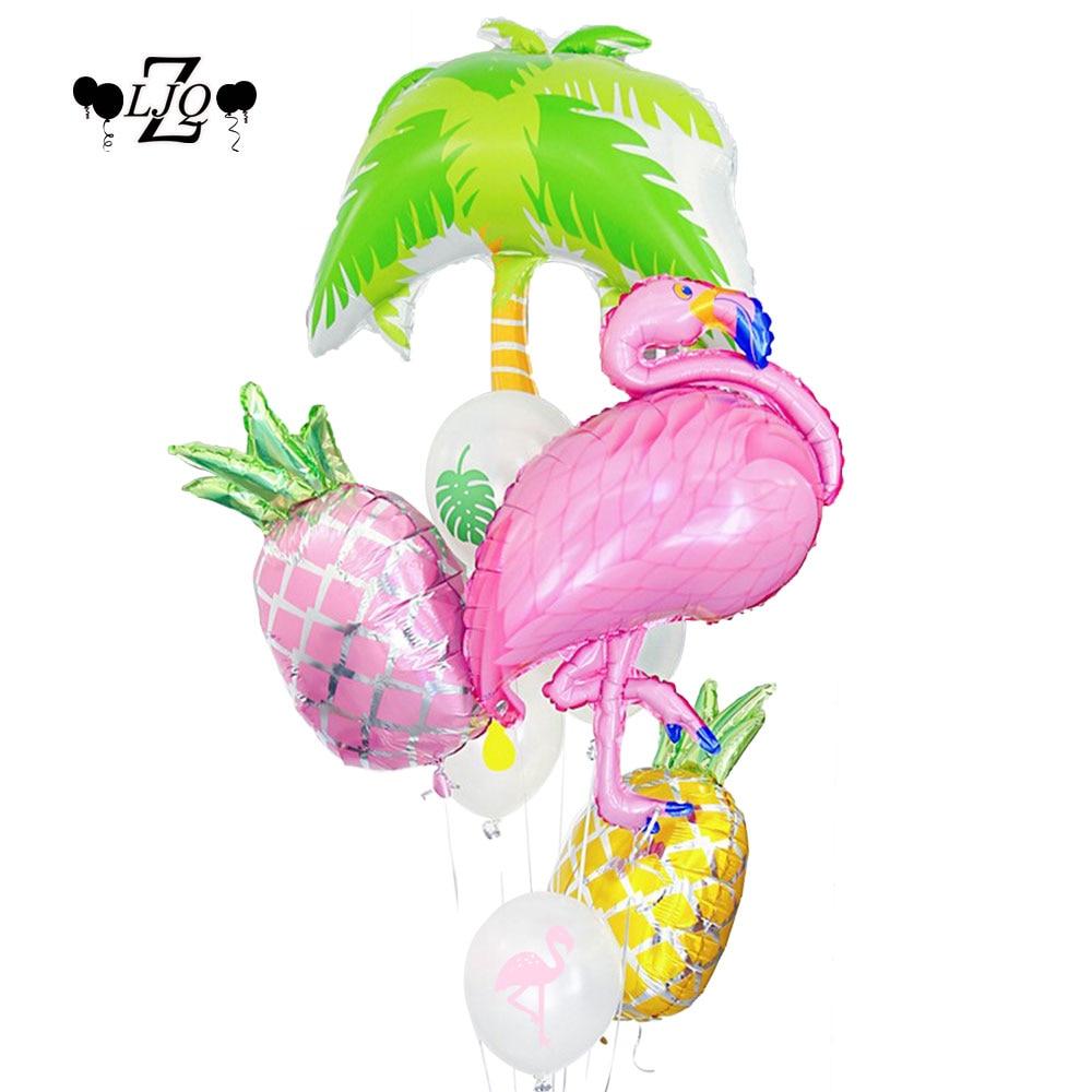 ZLJQ Tropical Pink Flamingo Party Pineapple Balloon Birthday Bride Baby Shower Hawaiian Beach Pool Summer girl Party Decoration