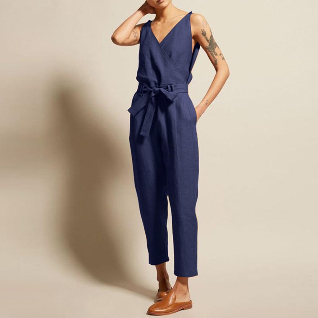 Women's  Summer Casual Solid Business Thin Linen Sleeveless V-Neck Belt Slim Plus Size Fashion Simple Linen Long Jumpsuit 50