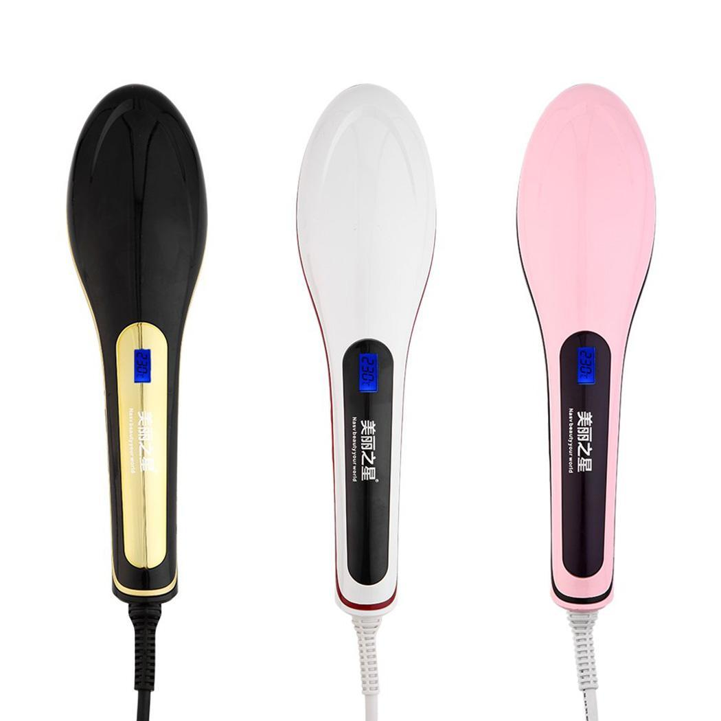 Ceramic Hair Straightener Brush Fast Straightening hair Electric Comb Flat Iron LCD Display Digital Heating hair BrushCeramic Hair Straightener Brush Fast Straightening hair Electric Comb Flat Iron LCD Display Digital Heating hair Brush