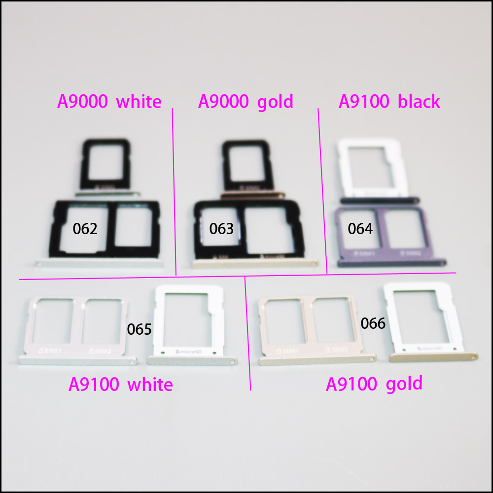 2pcs=1set Colorful Mobile Phone SIM Card Tray Holder For Samsung Galaxy A9 A9000 A9100 Micro Sim Card Carrier Adapter