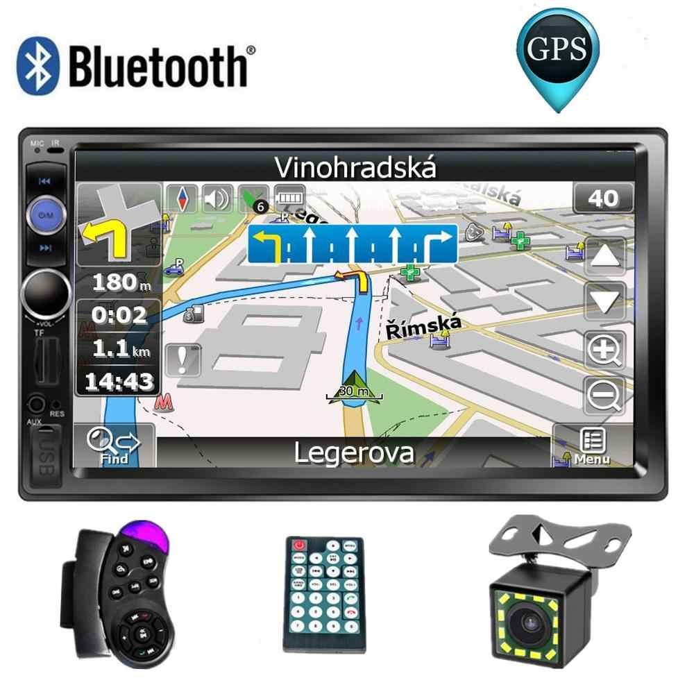 "7 ""Layar Sentuh Mobil Multimedia Player 2 DIN Mobil Radio GPS Navigasi Autoradio Bluetooth USB AUX Auto Stereo Mobil DVD MP5 Pemain"