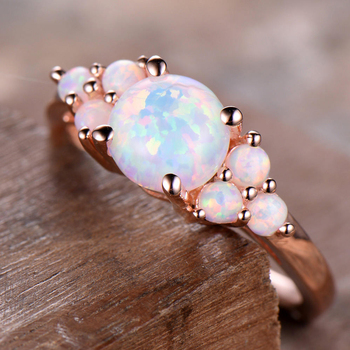 Natural 100% Oval Shape 8mm Austrialian Fire Opal Gemstone Ring in 14k Rose Gold with Gift Box For Women 3