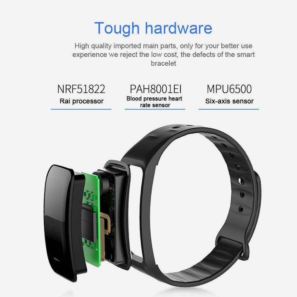 C1 Bluetooth Smart Браслет Водонепроницаемый Фитнес-Браслет трекер сна Спорт запястье сердечный ритм измерять кровяное давление кислорода montior