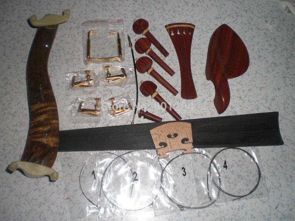 1 Set Best Quality Rose Wood Violin Parts & Shoulder rest Fingerboard fine tuner all 4/4 william 4 4 fom violin shoulder rest pad black white
