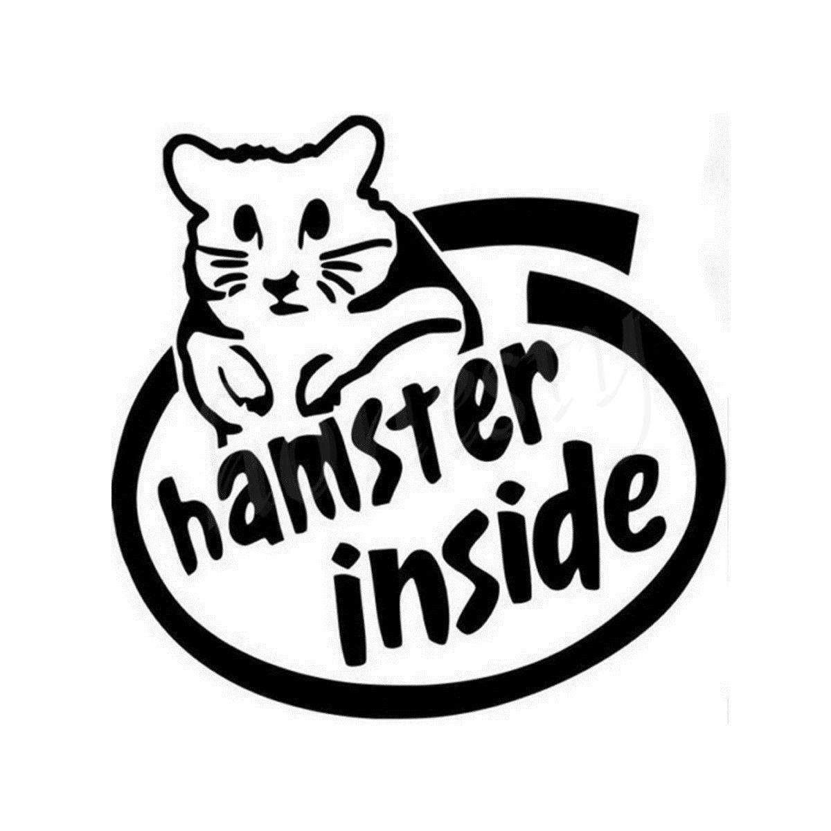Car glass sticker design - Hamster Inside Wall Home Glass Window Door Car Sticker Laptop Auto Truck Vinyl Black Decal Sticker