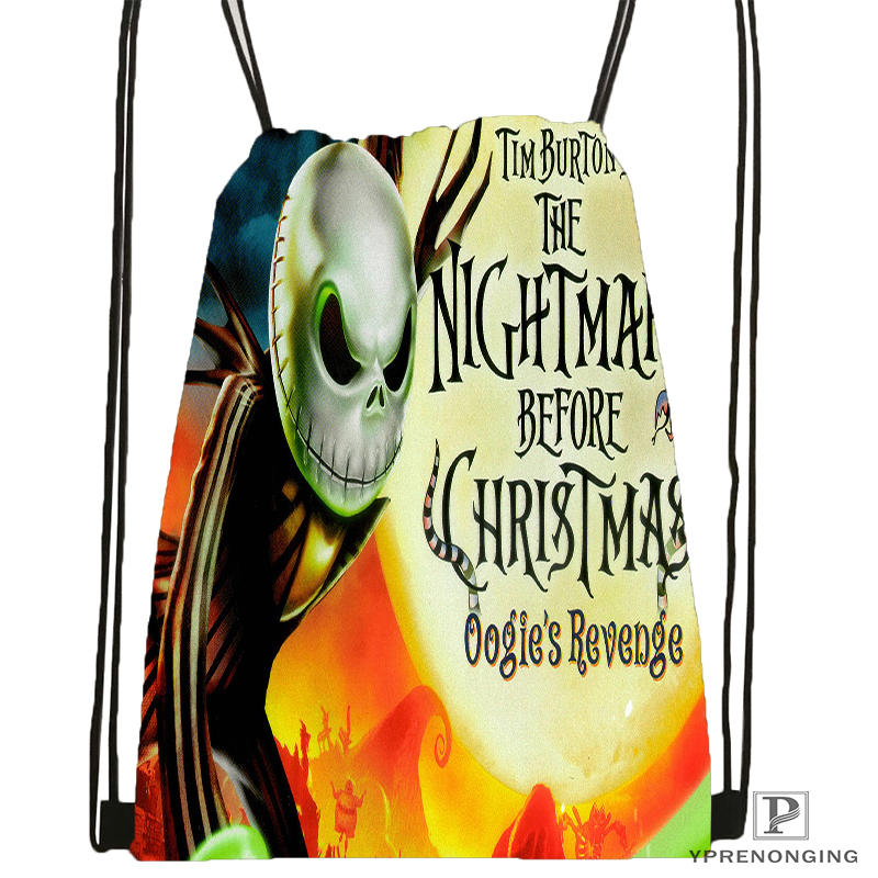 Custom  The Nightmare Before Christmas Drawstring Backpack Bag Cute Daypack Kids Satchel (Black Back) 31x40cm#180531-01-47