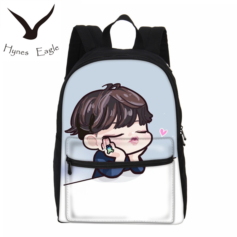 Hynes Eagle Women Fashion Backpack 2017 BTS Printing Backpack Girl EXO Canvas Laptop Backpacks Cute Cartoon School Shoulder Bag