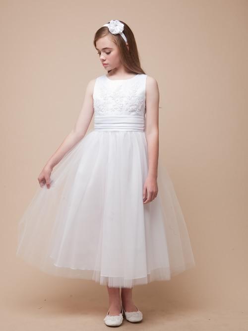 White Flower Girls Dresses For Wedding A-Line Girl Birthday Party Dress Tulle Mother Daughter Dresses for Little Girls