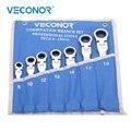 8-19 millimetri Chiave A Cricchetto Set di Strumenti di 72 Denti Cricchetto Chiavi Spade Flessibile Testa Polacco Dull con Rotolo -up Pouch
