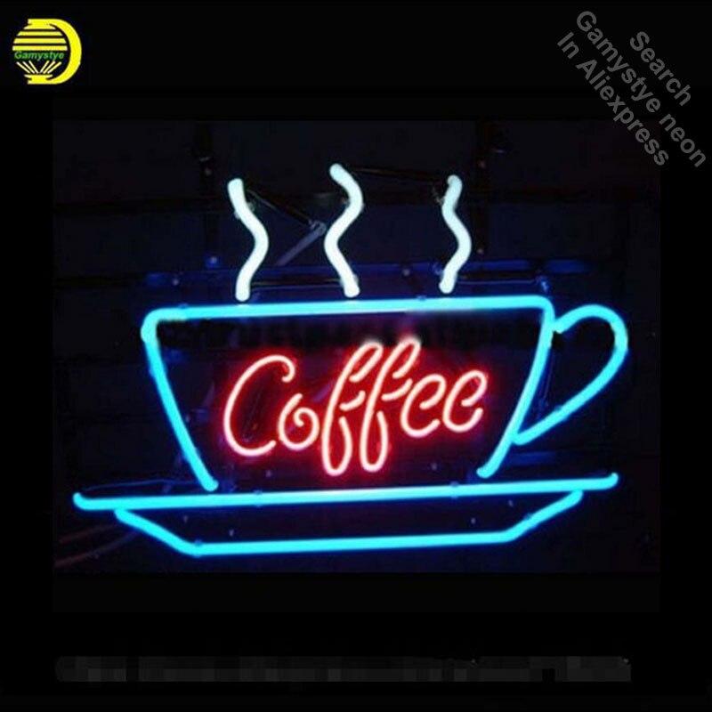 Café Neon Sign Exibição Cafe Lâmpadas de Néon Tubo Artesanais Real de Vidro Real Recreação Garagem Exibição Atrair hotel sinal VD 17x14