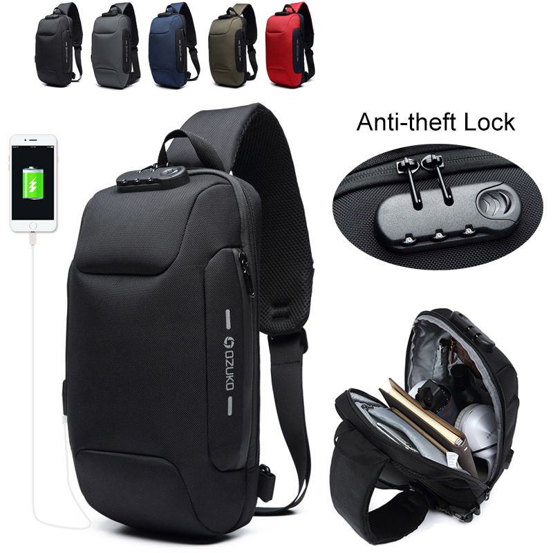 OZUKO 9223 Multifunction Sling Bag Male Lock Design Anti-theft Men's Shoulder Bag Short Trip Waterproof Crossbody Bags For Men