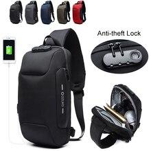 OZUKO 9223 Multifunction Sling Bag Male Lock Design Anti-theft Mens Shoulder Short Trip Waterproof Crossbody Bags for Men
