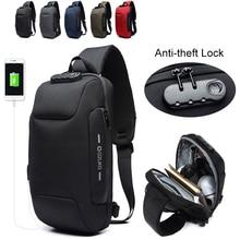 OZUKO 9223 Multifunction Sling Bag Male Lock Design Anti-theft Men's