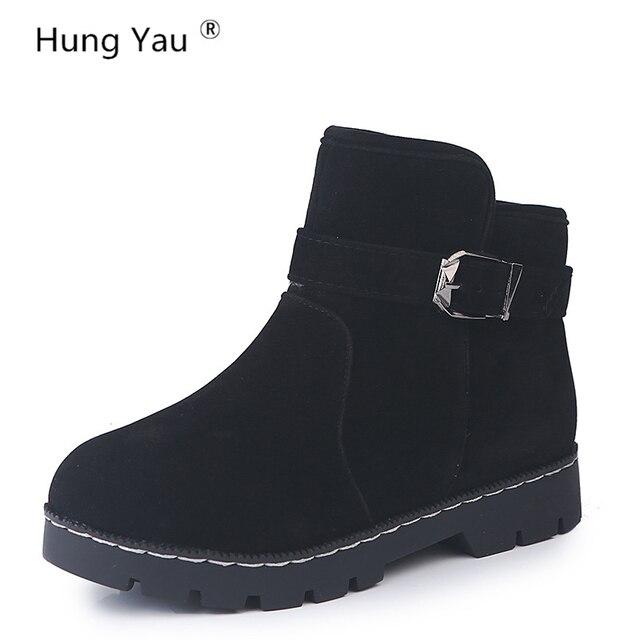 € 15.89 10% de DESCUENTO Colgar Yau cuero mujeres caliente invierno tobillo botas de moda Martin botas zapatos de trabajo negro ronda mujeres Zapatos