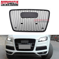 For Audi Q7 RSQ7 Style 2006 2015 Front Sport Shiny Black Mesh Honeycomb Bumper Grill Cover