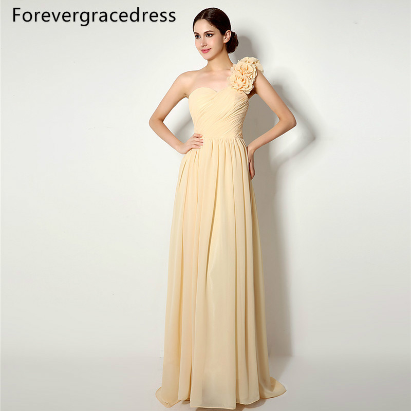 Forevergracedress High Quality Cheap   Bridesmaid     Dress   New Arrival Long One Shoulder Chiffon Wedding Party Gown Plus Size