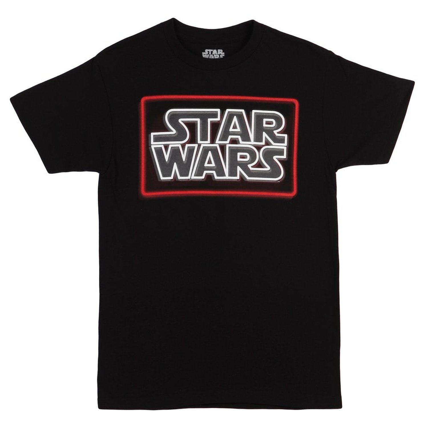 Black t shirt with neon letters - Star Wars Neon Logo Mens Black T Shirt New Short S