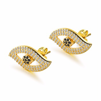 FATE LOVE Fashion Women Stud Earring Inlay Cubic Zirconia Crystal Stone Eye design Silver Gold Color 2.0x1.0cm large size