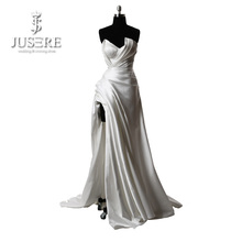 Vestido de fiesta Robe De Soiree V Halssidan Slit Ruching Pleat Långa Satin Festa Klänningar 2018 Ivory Prom Dress