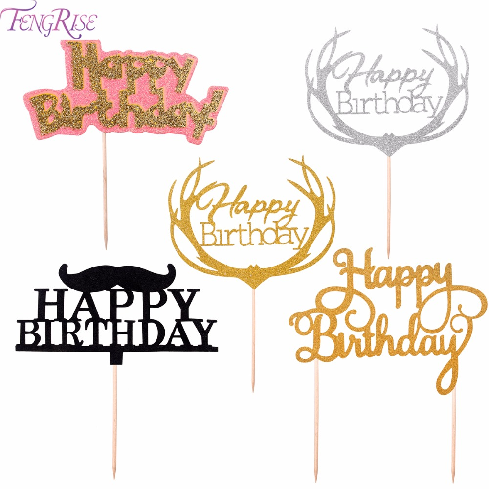 FENGRISE Gold Glitter Happy Birthday Cake Toppers Baby Shower Black Moustache Kids Favors Party Decoration Supplies