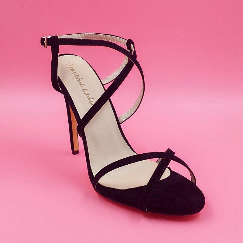 ФОТО Black Nubuck Criss Cross Strap High Heel Sandals sapatos femininos  Women Shoes Fashion Comfortable Stilettos Sandal For Women