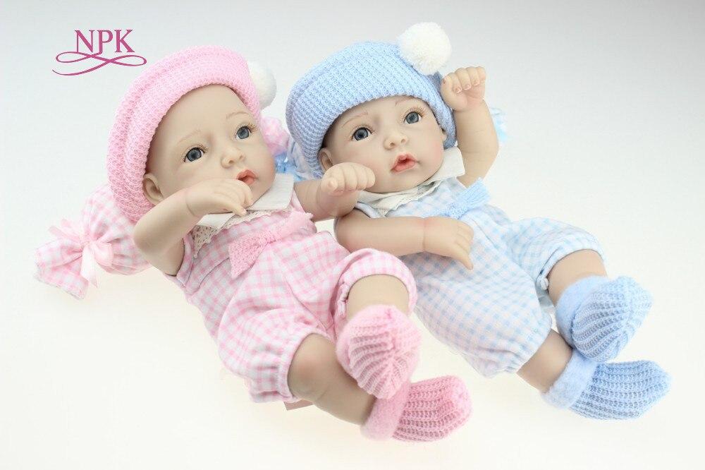 NPK BONECA Mini 12 Polegada Totalmente Corpo Bonecas Reborn Silicone Macio Dormir Recém-nascidos Bebes Reborn Realista Boneca Para O Presente brinquedo Do banho