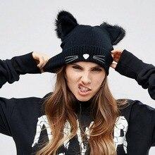 Warm Winter Hat For Women 2016 Wool Knitted Womens Cat Ears Faux Mink Hats Skullies Fur Pompom Caps Female Beanies Bonnet Femme