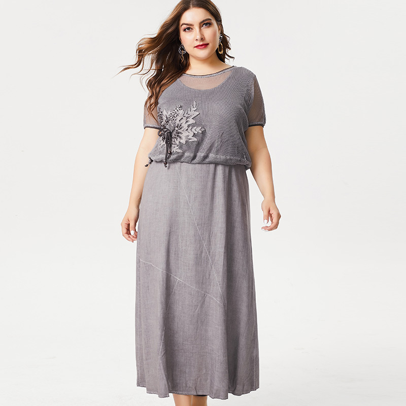 MK 2019 Summer Ladies Plus Size linen maxi dress fashion women office lady female elegant  dresses for women 4xl 5xl 6xl