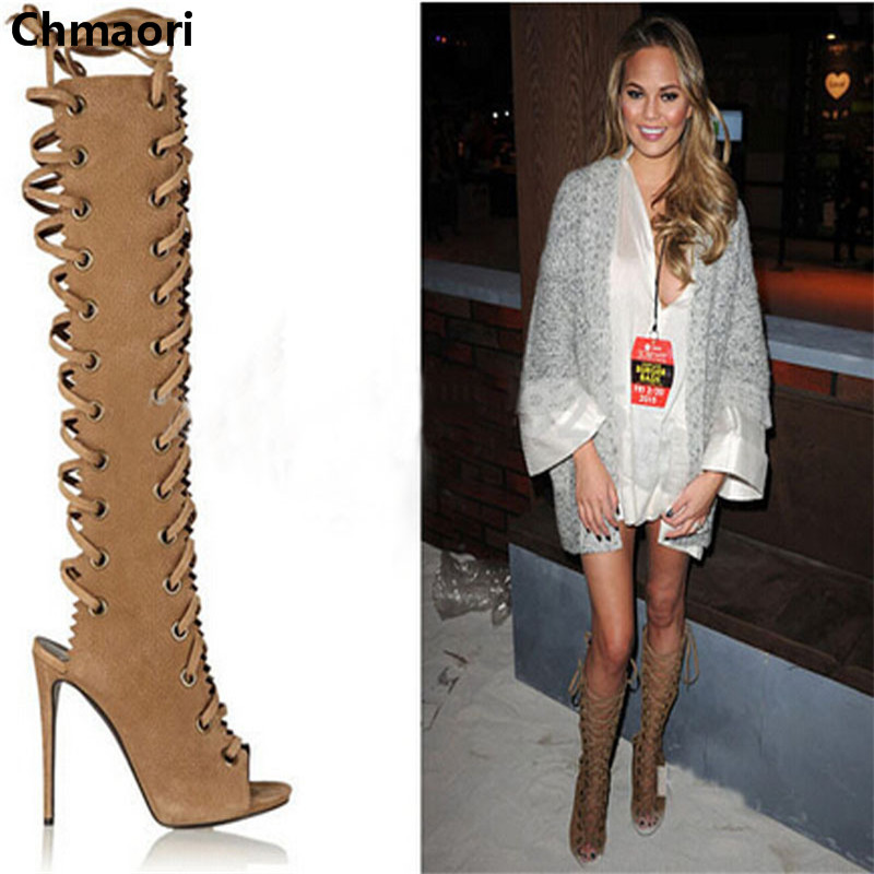 hot selling open toe cut-outs over the knee high heel sandal boots lace up gladiator boots new arrival knee high boots cross strap cut outs gladiator sandal boots suede open toe lace up sandals summer women flat shoes