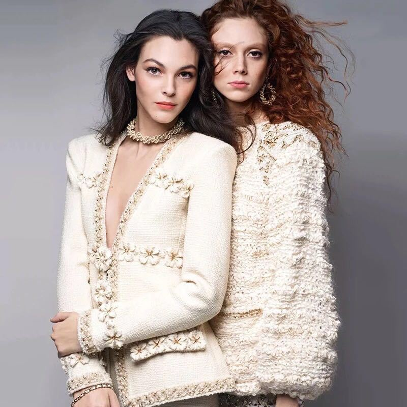 Handmade 2019 Runway Designer Luxury Brand Suit Fashion Vintage V Neck Stereoscopic Floral Beading Tweed Wool Jacket