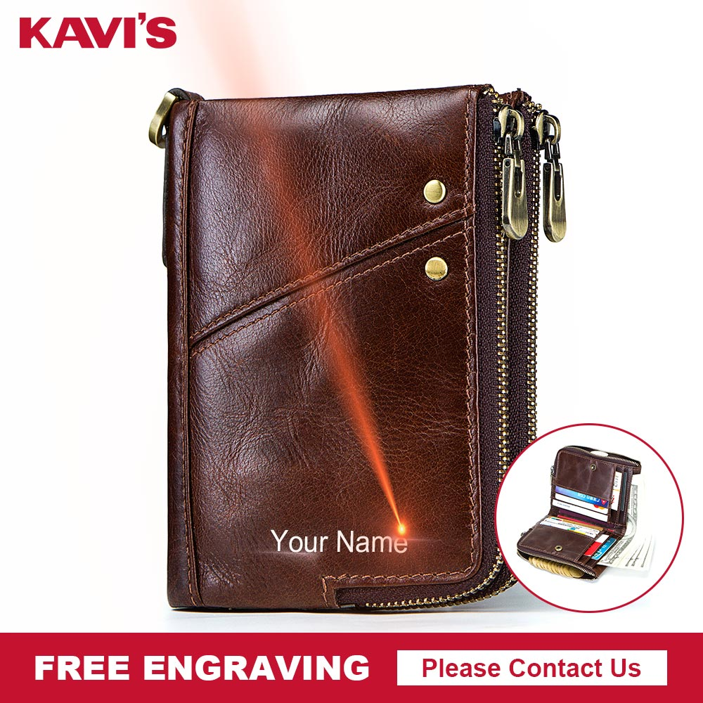 KAVIS Rfid High Quality Genuine Leather Crazy Horse Leather Wallet Men Small Walet Portomonee Male Cuzdan Short Coin Purse