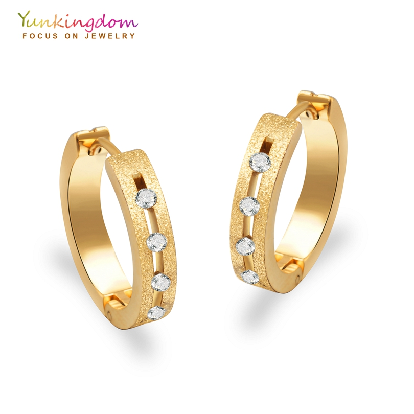 Yunkingdom clear cubic zirconia hoop earrings for women ...