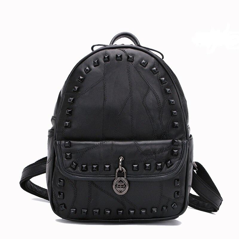 HD19338 Solid rivet leather Small bag sheepskin tide Simple Shoulder Bag Women Leather backpack