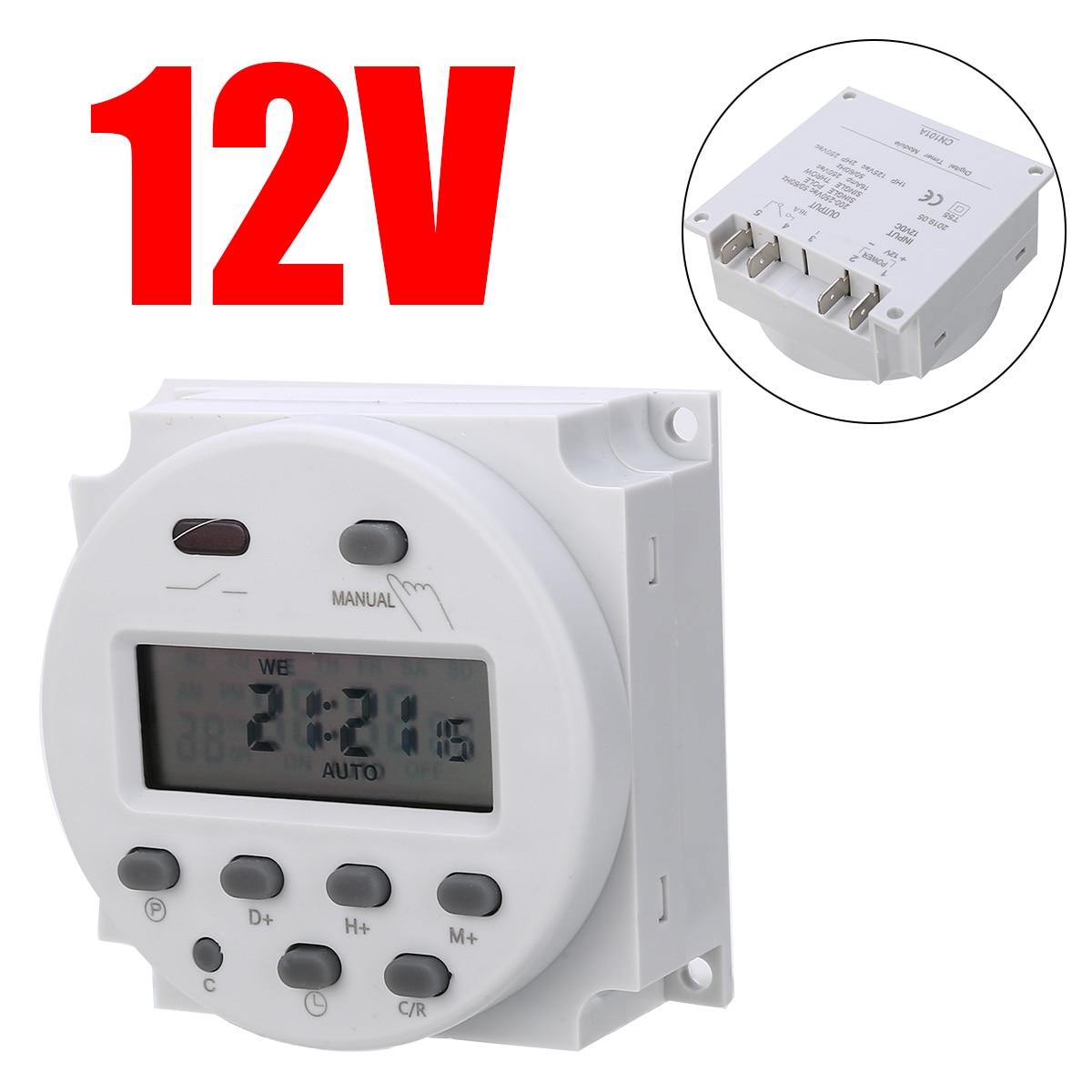Tempo temporizador Interruptor do Relé AC/DC 12V 16A Digital Programável Semanal 7 Dias Controle Para Eletrodomésticos Elétrica