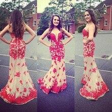 Glamorous Meerjungfrau Rot Applqiues Abendkleid Lange Formale Kleid Lange Tüll Abendkleid Benutzerdefinierte vestido de festa gala jurken