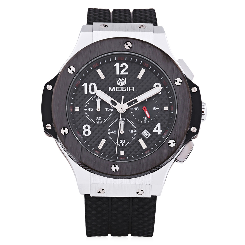 цена на Genuine MEGIR Quartz Men Watch Big Dials Silicone Sports Military Watches Clock Men Chronograph Wristwatches Relogio Masculino