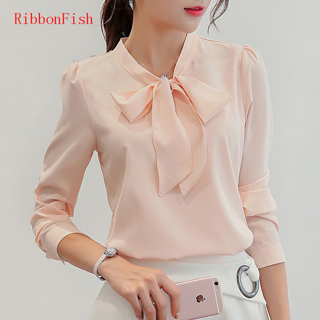 01be299679947 US $5.81 24% OFF|Office Wear Women Summer Chiffon Blouses Shirts Lady Girls  Casual O Neck Bow Tie Long Sleeve Tops Shirts Blusas DF1159-in Blouses & ...