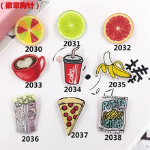 Min Order $5(Mix Order) Jewelry Acrylic HARAJUKU Badge cartoon creative brooch banana lemon pizza Collar Tips Enamel Broche XZ01