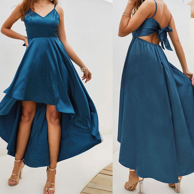 Women Ladies Formal Party Spaghetti Strap V Neck Gown Dress Long Maxi Irregular Hem Dresses